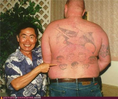 awesome face,george takei,Star Trek,tattoos,wtf