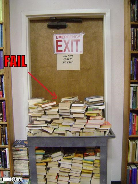blocked books door emergency exit failboat g rated