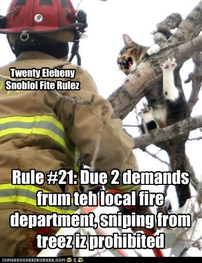 Twenty Elebeny Snoblol Fite Rulez Rule #21: Due 2 demands frum teh local fire department, sniping from treez iz prohibited Chech1965 250111