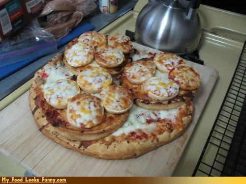 mini pizzas,pizza,pizza bagels,pizza on pizza,pizzas as pizza toppings,recursive,toppings