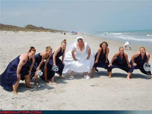 bride,Crazy Brides,crazy bridesmaids picture,crouching bride,crouching bridesmaids,embarrassing bridal party picture,fashion is my passion,funny bridesmaids picture,funny wedding photos,miscellaneous-oops,surprise,technical difficulties,upskirt,wedding party,what the,wtf,wtf is this
