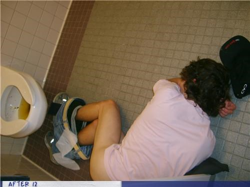 bathroom,gross,pants,passed out,puke