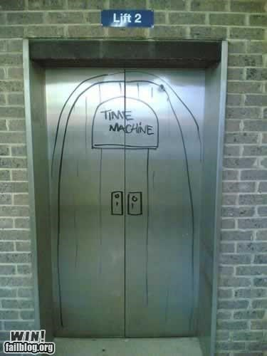 elevators,hacked,sharpie,time machine
