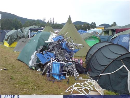 camping,chairs,lots,party remnants,tents