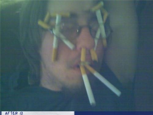 cigarettes,glasses,passed out,smoking
