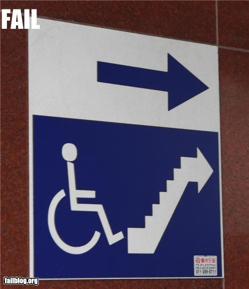 access,classic,failboat,g rated,sign,stairs,wheelchair