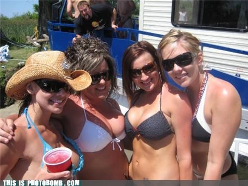 babes bikinis boobs drinking party photobomb sunglasses