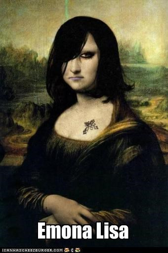 art,emo,la joconde,mona lisa,painting,smile