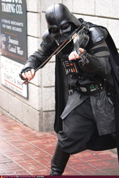 costume,darth vader,star wars,violin,wtf