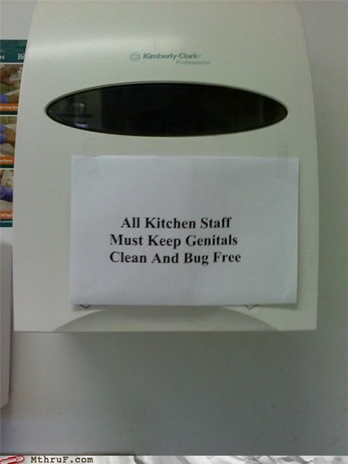 clean,genitals,kitchen staff,signs