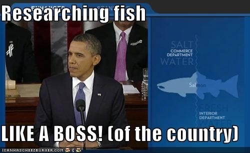 barack obama,Like a Boss,president,salmon,speech,state of the union