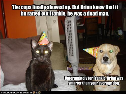 The cops finally showed up. But Brian knew that if he ratted out Frankie, he was a dead man. Unfortunately for Frankie, Brian was smarter than your average dog.