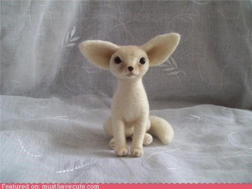 doll felted fennec fox needle felted - 4398281472