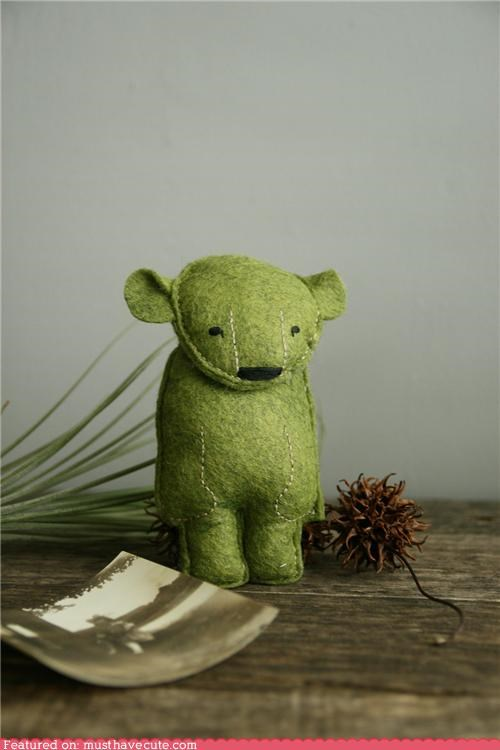 bear,felt,green,hand made,Plush,polar bear,stitching