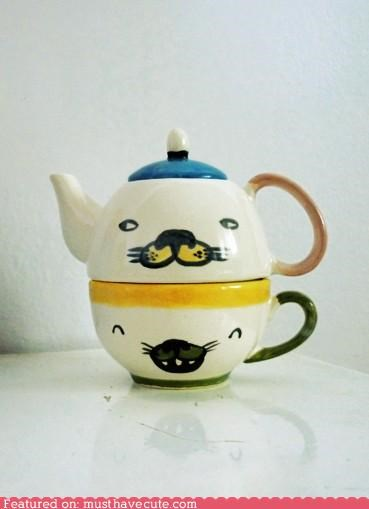 set stacking tea teacup teapot - 4398387200