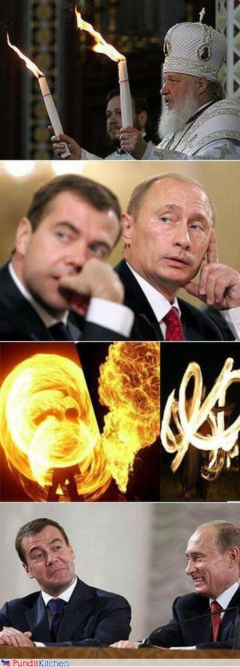 candles,comixed,Dmitry Medvedev,fire,happy,impressed,russia,Vladimir Putin,vladurday