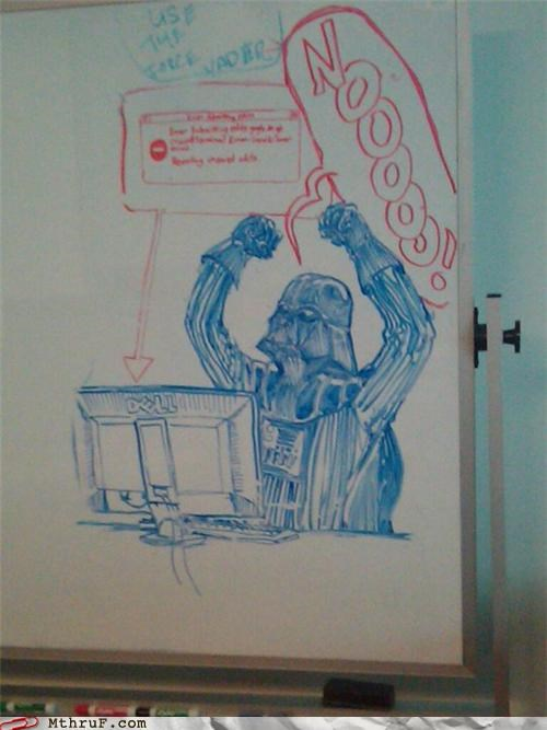 art,awesome,blue screen,bsod,dry erase,star wars