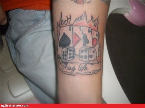 bad,fire,tattoos,thug life,poker,funny
