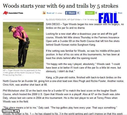 failboat golf headline innuendo Probably bad News sports Tiger Woods - 4400045312