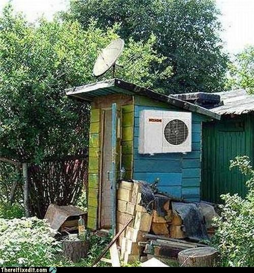 ac,choices,satellite dish,shack,television