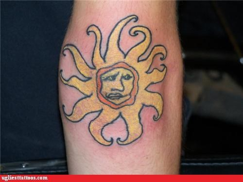 tattoos,sun,funny,g rated,Ugliest Tattoos