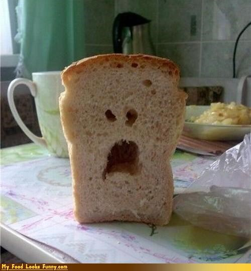 angry bread face loaf Sad slice sliced