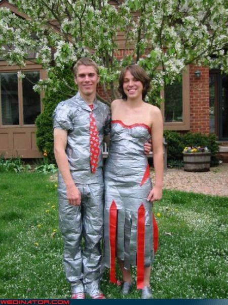 bride Crazy Brides crazy groom crazy wedding outfit duct tape bride duct tape groom duct tape wedding fashion is my passion funny wedding photos groom shiny-grooms-suit shiny wedding dress stick-on wedding clothes sticky wedding attire surprise technical difficulties were-in-love Wedding Themes whoa wtf - 4403563520