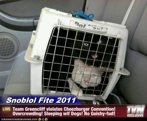 Snoblol Fite 2011 - Team Greencliff violates Cheezburger Convention! Overcrowding! Sleeping wif Dogs! No Guishy-fud!