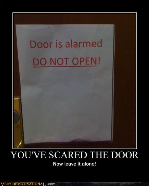 door scared alarmed