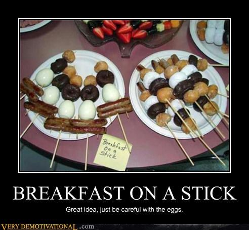 BREAKFAST ON A STICK Great idea, just be careful with the eggs.