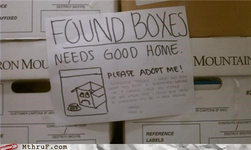 boxes,note,passive aggressive,recycle