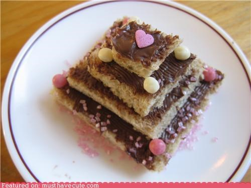 bread,cake,epicute,heart,nutella,sprinkles,tower