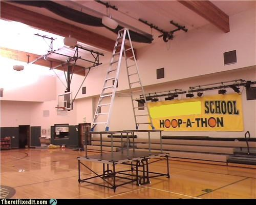 high school,holding it up,ladders,Professional At Work,school,stable