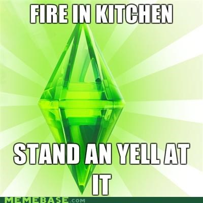 fire,Memes,The Sims,yell at it