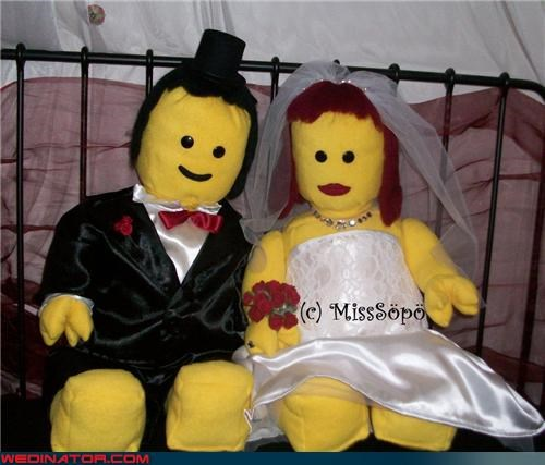 bride fancy LEGO dolls funny wedding photos groom handmade LEGO dolls LEGO wedding dolls LEGO wedding gift surprise wedding gift surprise themed wedding ummm were-in-love Wedding Themes