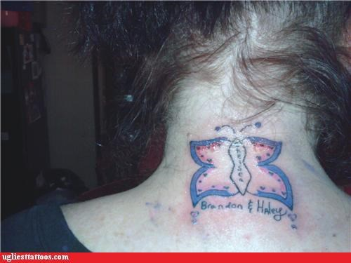 wtf butterflies tattoos funny - 4408509440