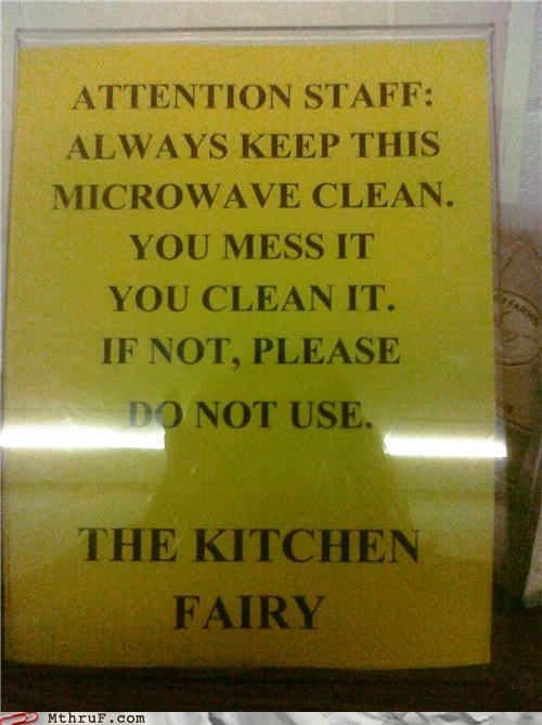 fairy kitchen microwave note passive aggressive sign