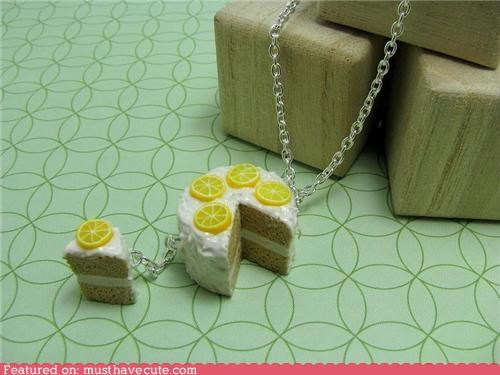 cake,chain,frosting,Jewelry,lemon,miniature,necklace,pendant