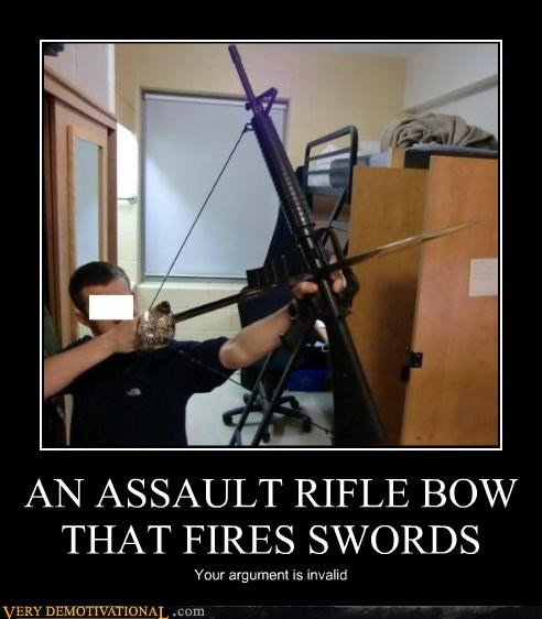 assault rifle,bow,swords
