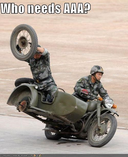 AAA,awesome,fix,lost a wheel,military,soldiers,triple A,wheels