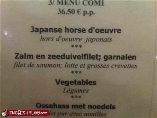 food hors-doeuvre horse menu