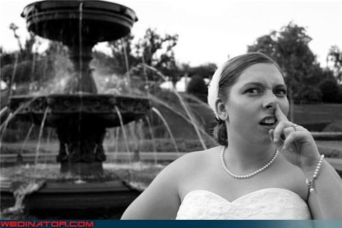 black and white,bride,bride picking her nose,Crazy Brides,eww,fashion is my passion,fountains of eww,funny bride picture,funny wedding photos,gross bride picture,miscellaneous-oops,nose picker,nose-picking bride,surprise
