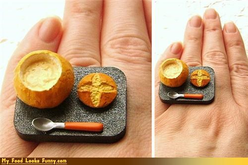 bowl bread bowl Jewelry miniature ring - 4411594752