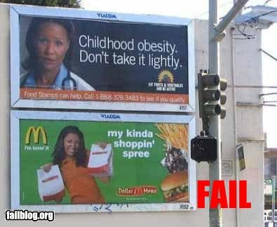 billboards failboat fast food food g rated juxtaposition McDonald's signs