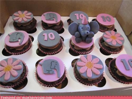 10 cupcake elephant epicute flowers fondant - 4412133888