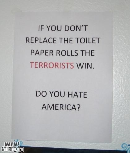 AMERRICA,bathroom,notes,signs,terrorists,warning