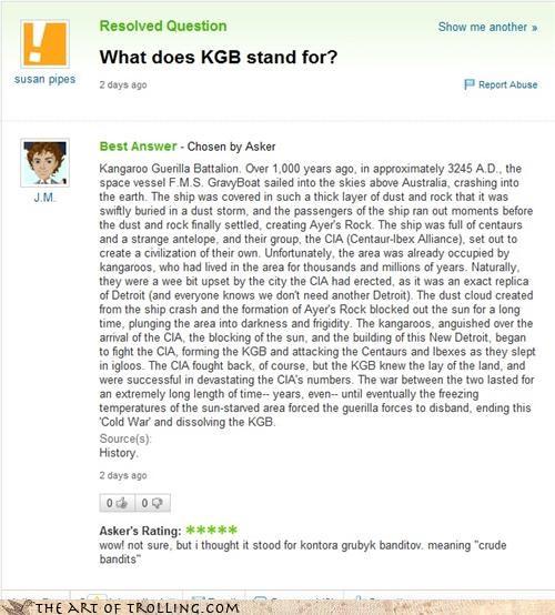 bandits battalion cia guerilla kangaroo KGB Yahoo Answer Fails - 4412773120