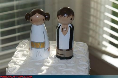 bride,cake toppers,Dreamcake,funny wedding photos,groom,han solo cake topper,princess leia cake topper,Sheer Awesomeness,sheer cuteness,star wars cake toppers,themed cake toppers,were-in-love,Wedding Themes