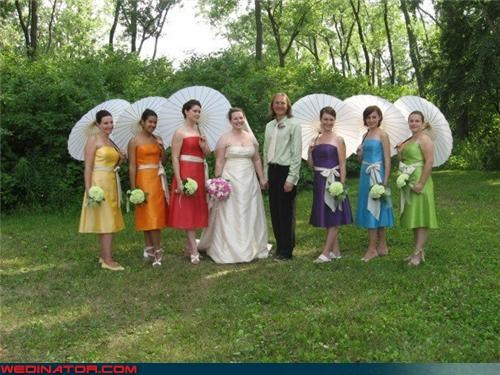 bride,bridesmaid rainbow,bridesmaids with parasols,fashion is my passion,funny wedding photos,groom,rainbow,rainbow bridesmaids dresses,surprise,themed bridesmaids,themed bridesmaids dresses,were-in-love,wedding party,Wedding Themes