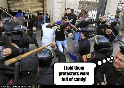 abuse,candy,egypt,pinatas,pranks,protesters,riots,violence